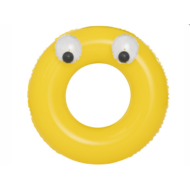 Felfújható sárga kör alakú úszógumi fogantyúval