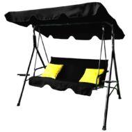 Fekete hintaágy citromsárga díszpárnákkal és dönthető tetővel