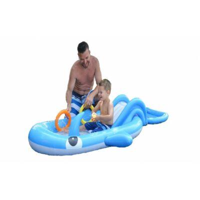 Felfújható gyermek vizi játszótér csúszdával - kék színben
