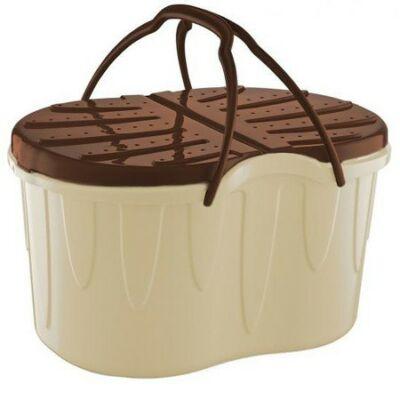 Családi piknikkosár 47 x 33 x 27,5 cm-es barna-krém színben
